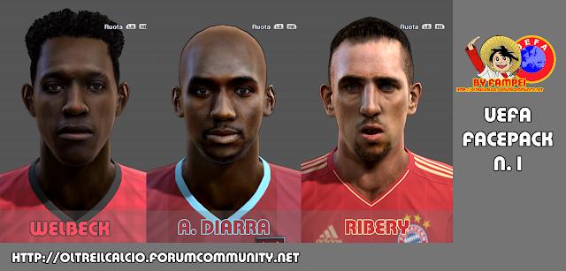 Danny Welbeck, Alou Diarra e Franck Ribéry Faces - PES 2013