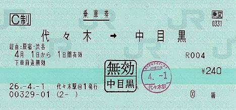 消費税5%時の運賃でH26年4月から5月まで乗車する方法 JR→東急乗継割引乗車券 代々 木駅