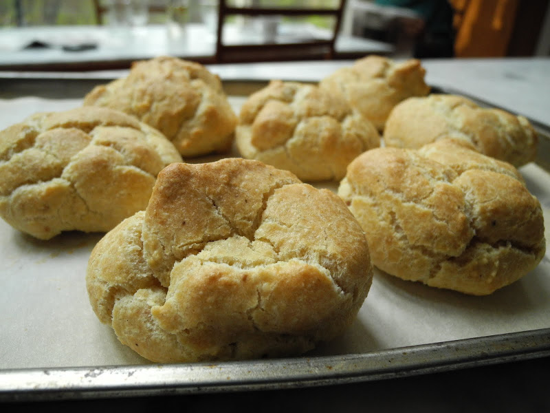 Golden Brown Passover Popovers on baking sheet title=