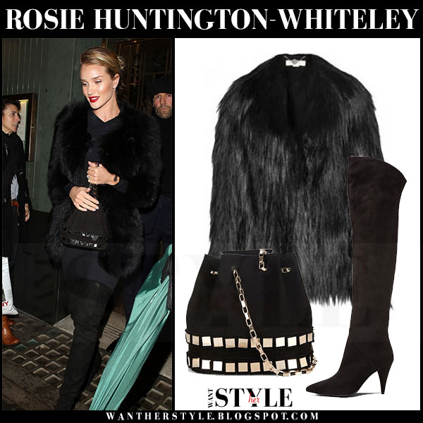 Rosie Huntington-Whiteley in black faux fur stella mccartney dan coat, black suede saint laurent cat boots with black studded tomasini et20 bucket bag what she wore