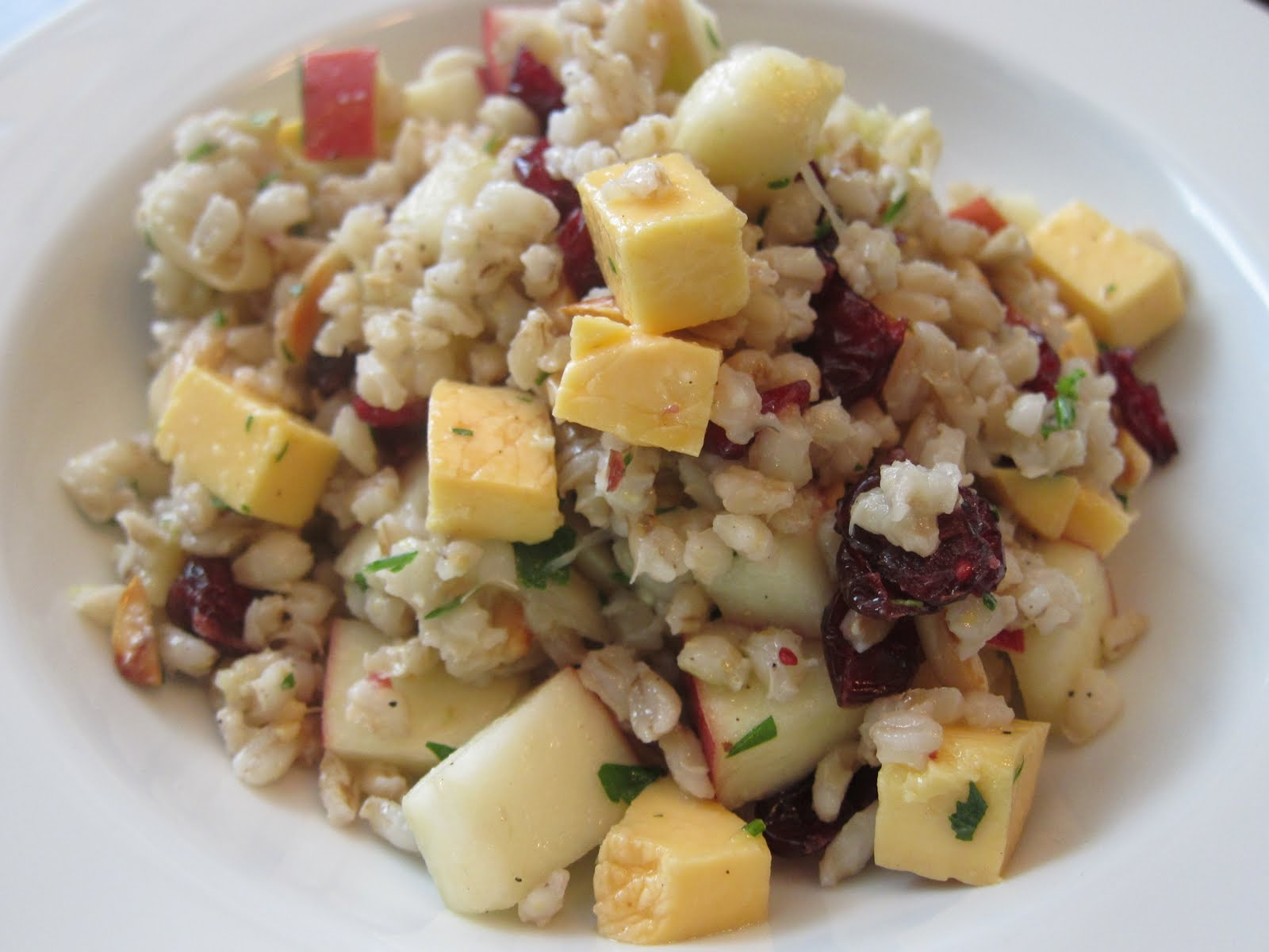 Apple, almond, and smoked mozzarella farro barley salad.