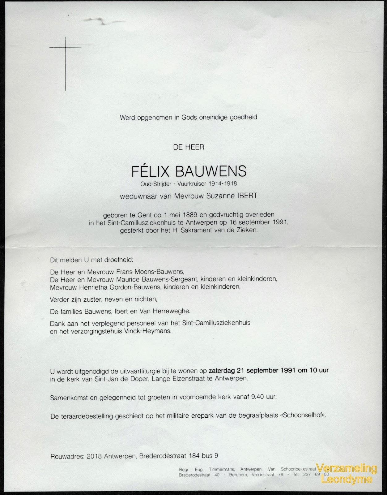 Rouwbrief van oud-strijder-vuurkruiser en oorlogsinvalide Félix Bauwens 1889-1991.Verzameling Leondyme