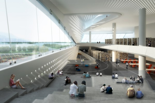 Interiors of new modern library showing kids reading