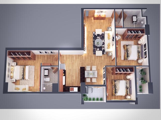 Thiết kế căn hộ 106m Athena Complex