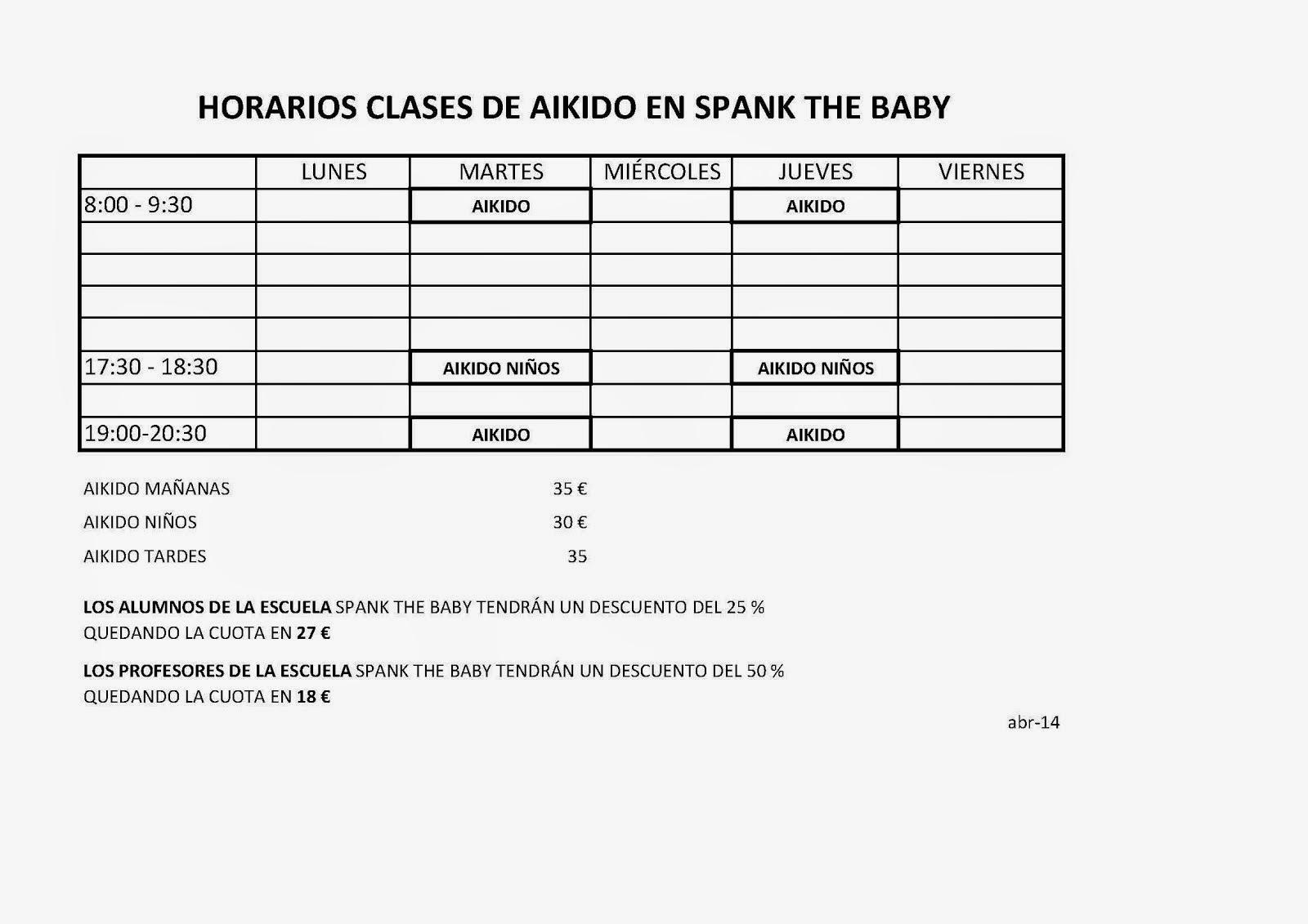 HORARIOS EN SPANK THE BABY