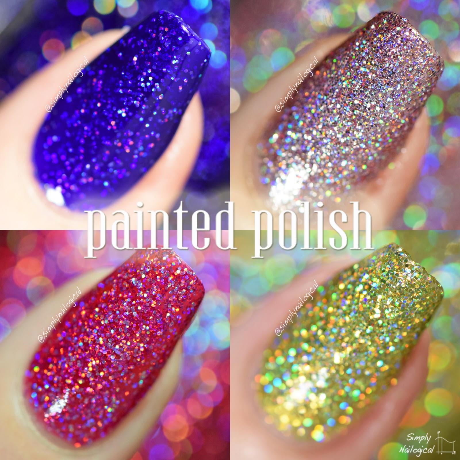 Painted Polish holo glitters macro