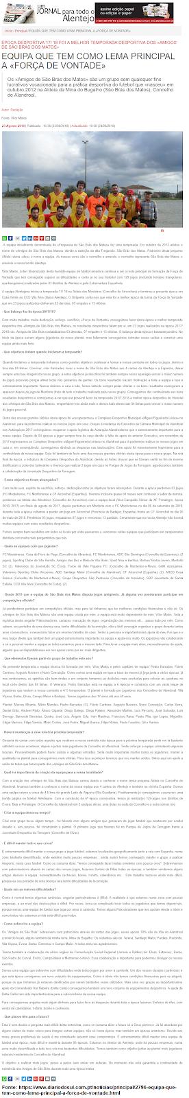 GRANDE ENTREVISTA NO JORNAL «DIÁRIO DO SUL»