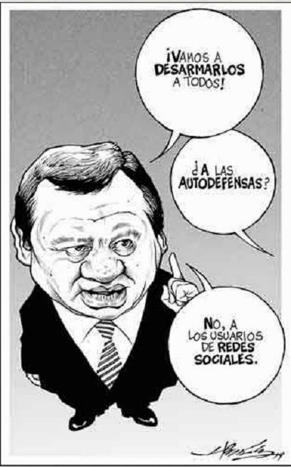 Caricatura de autodefensas Michoacán y redes sociales