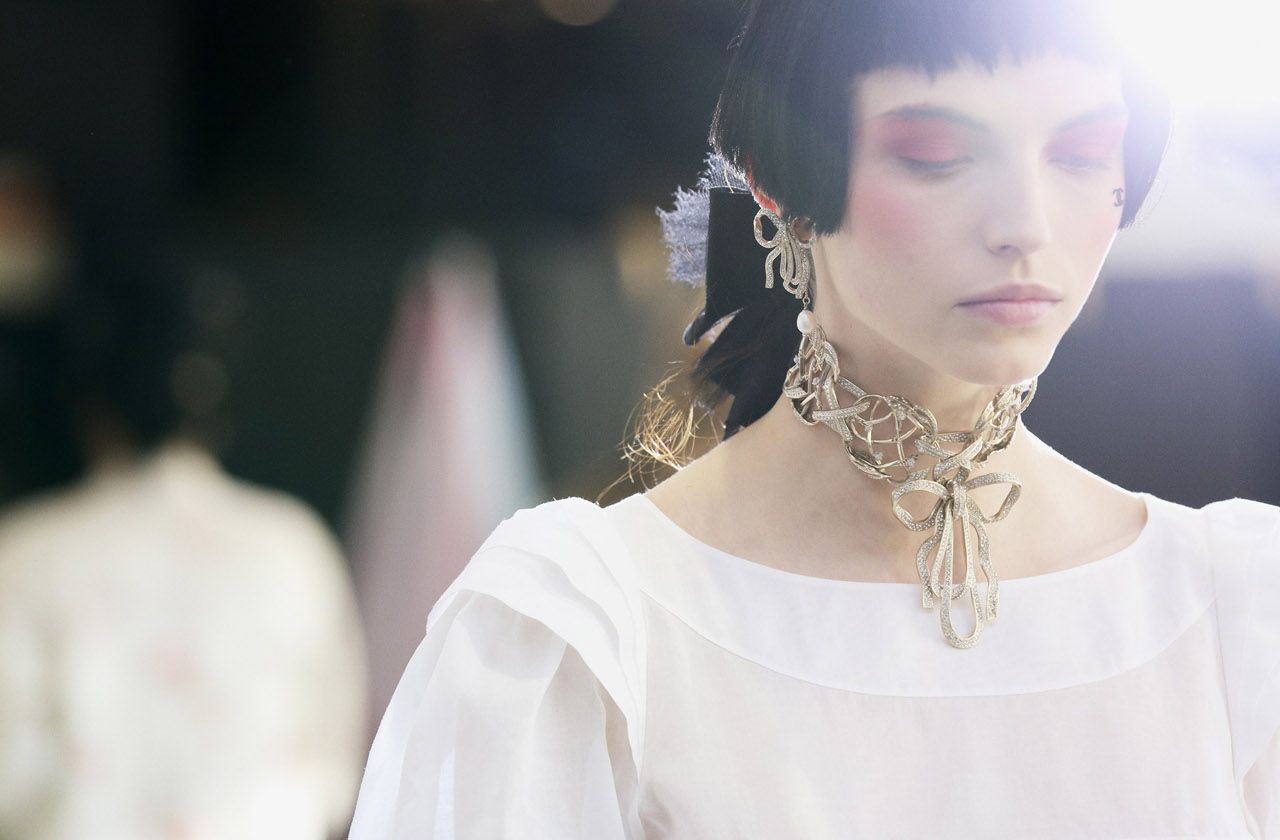 via fashioned by love | Karlina Caune backstage at Chanel Resort 2012