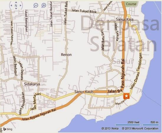 Map of Sanur Bali Sanur Bali Location Map