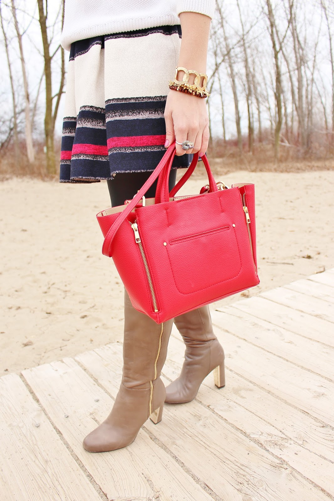 bijuleni,ann taylor, skirt, red tote, knee high boots