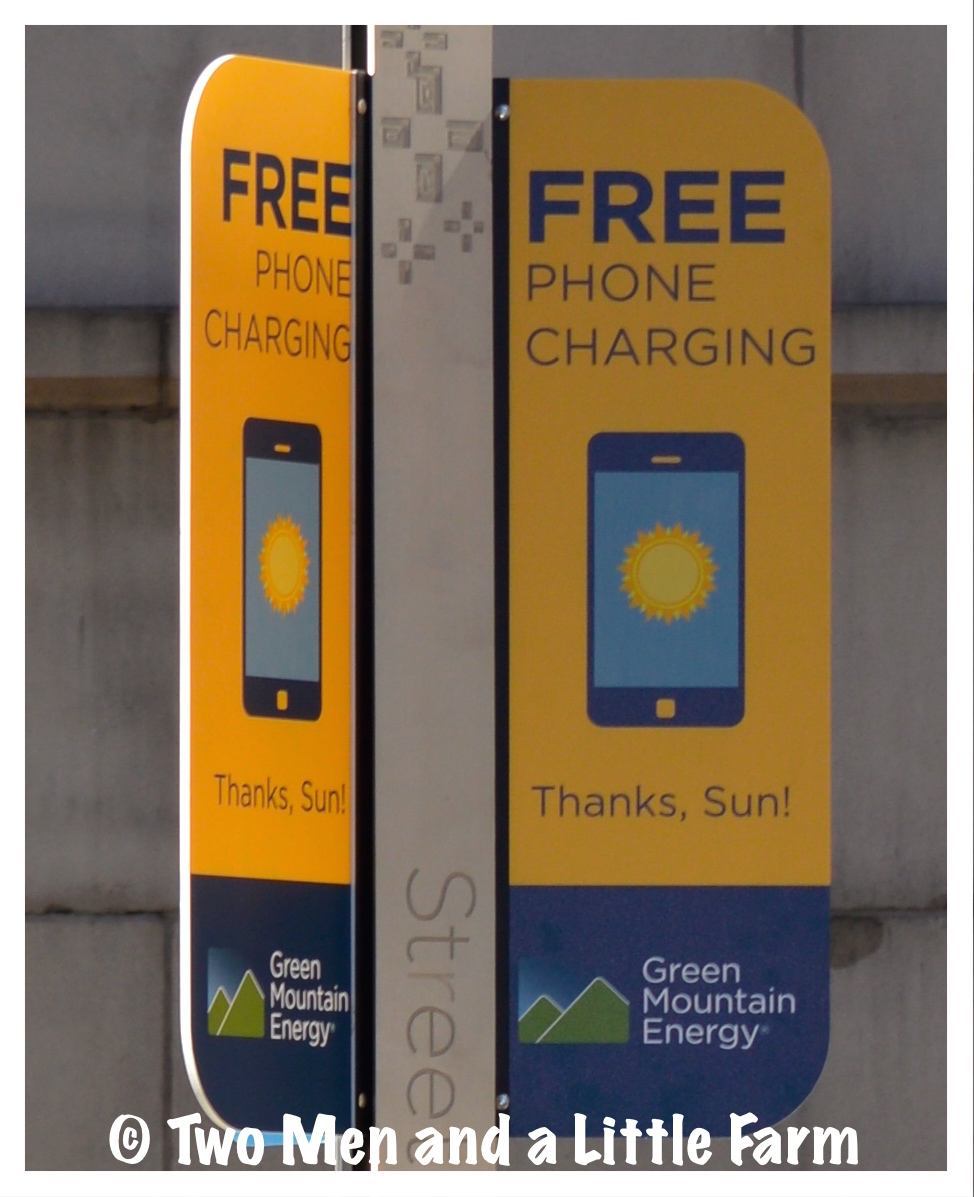 Two men and a little farm solar cell phone charging station Cell phone charging station