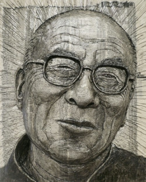 05-Dalai-Lama-Phone-Books-Sculpture-Carving-Cuban-Artist-Alex-Queral-WWW-Designstack-Co