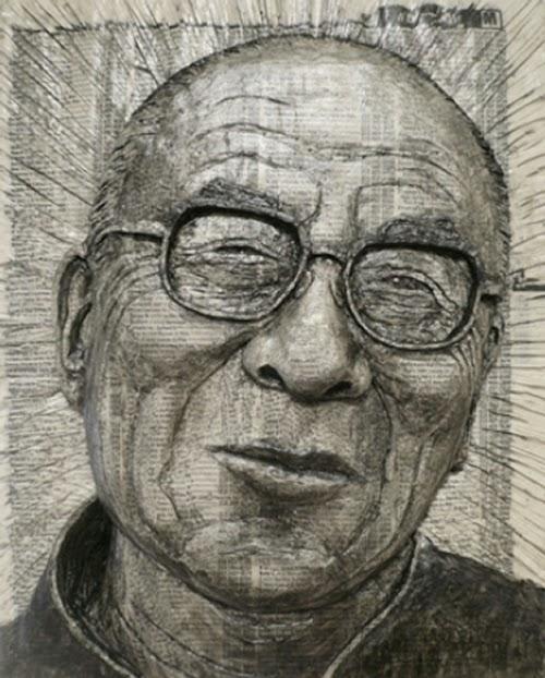 05-Dalai-Lama-Phone-Books-Sculpture-Carving-Cuban-Artist-Alex-Queral-WWW-Designstack-Co