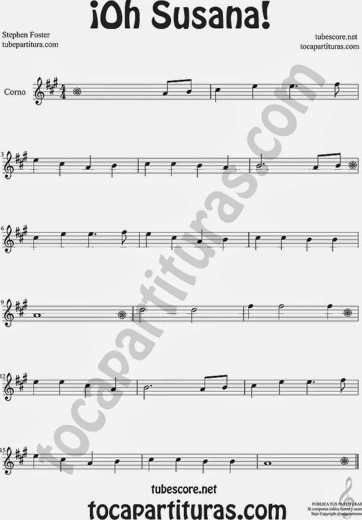 ¡Oh Susana! Partitura de Corno Francés o Trompa Sheet Music for Horn