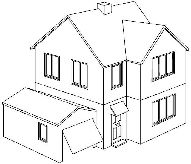 Mi colecci n de dibujos casas para colorear for Dibujo de una oficina moderna