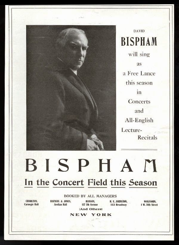 AMERICAN BARITONE DAVID BISPHAM (1857 - 1921) CD