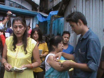 GNWO members distributing the handouts in Kalimpong on Wednesday.