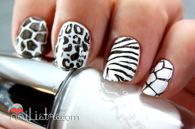 Uñas decoradas con animal print // cebra, leopardo, jirafa, tortuga