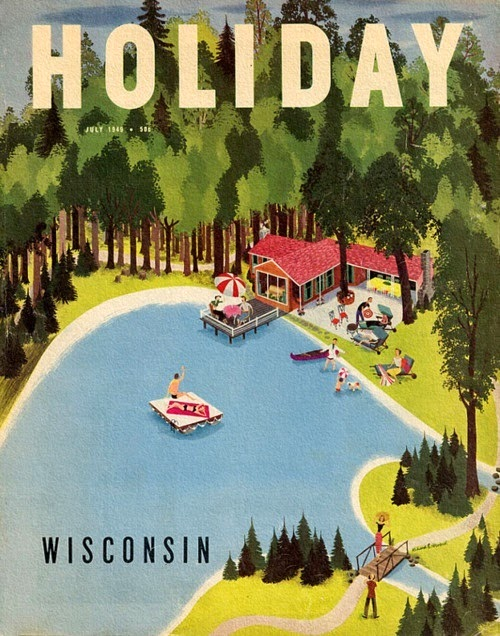 A Wisconsin holiday ad illustration by Roger Wilkerson
