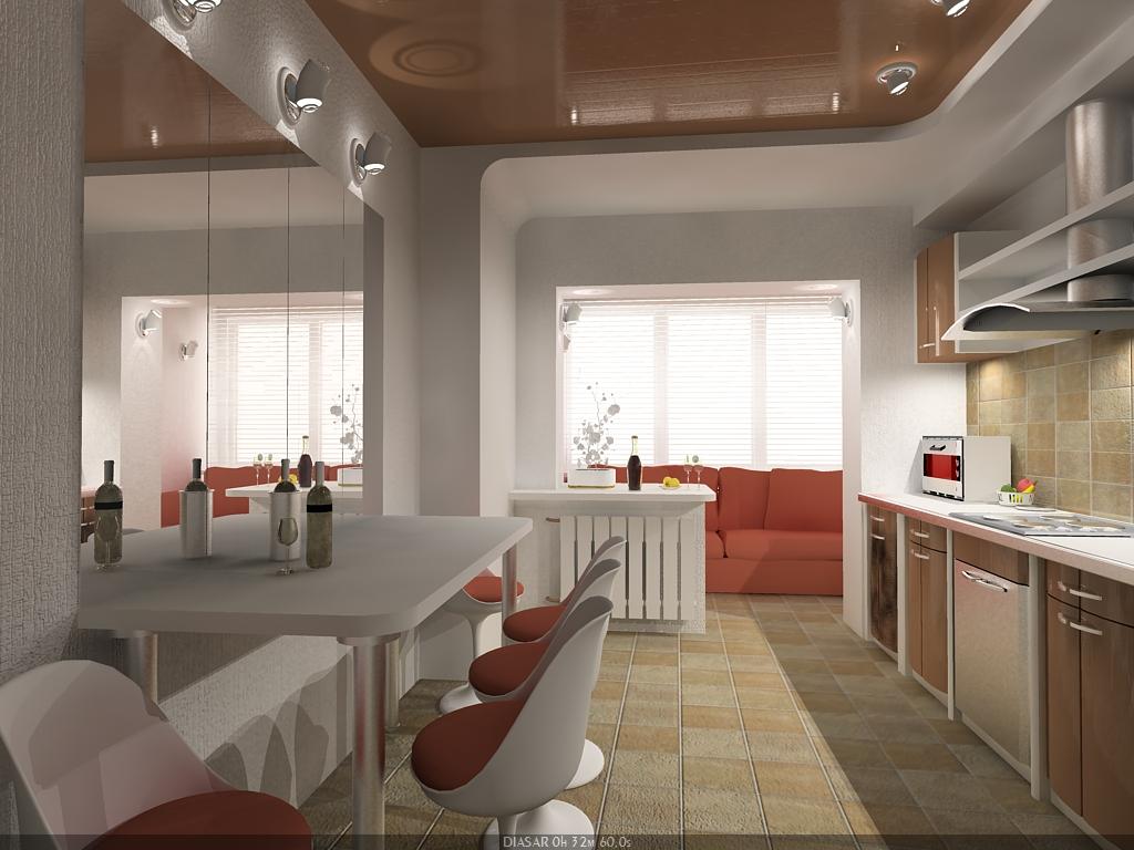 Дизайн кухни с присоединенным балконом