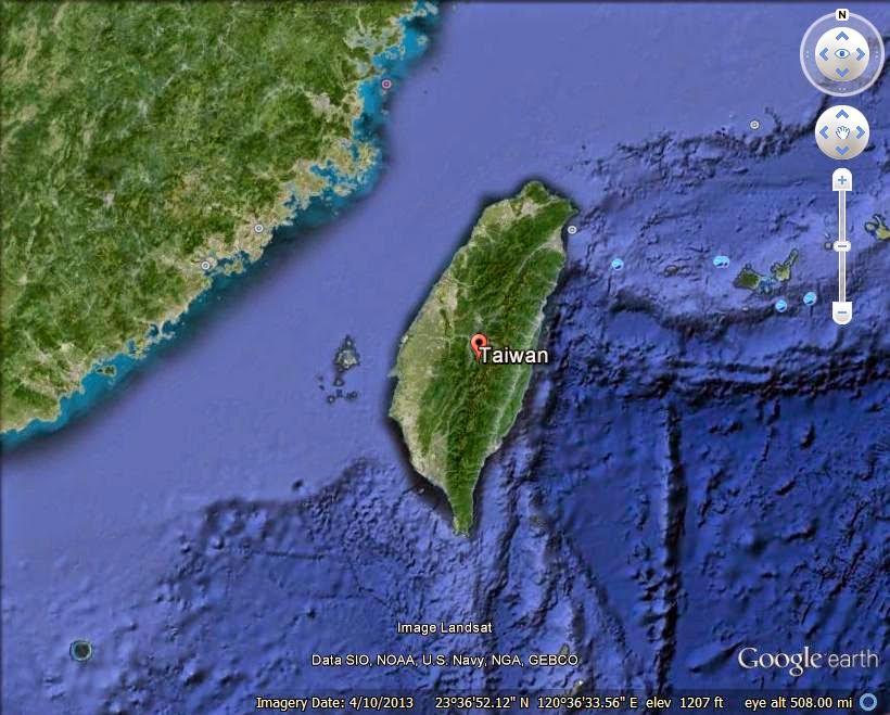 Island of Taiwan - disputed island ranked 10th