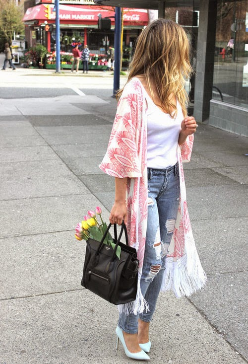 Wearing a Maxi Kimono Cardigan with White Tank top, Ripped Jeans and Celine Bag