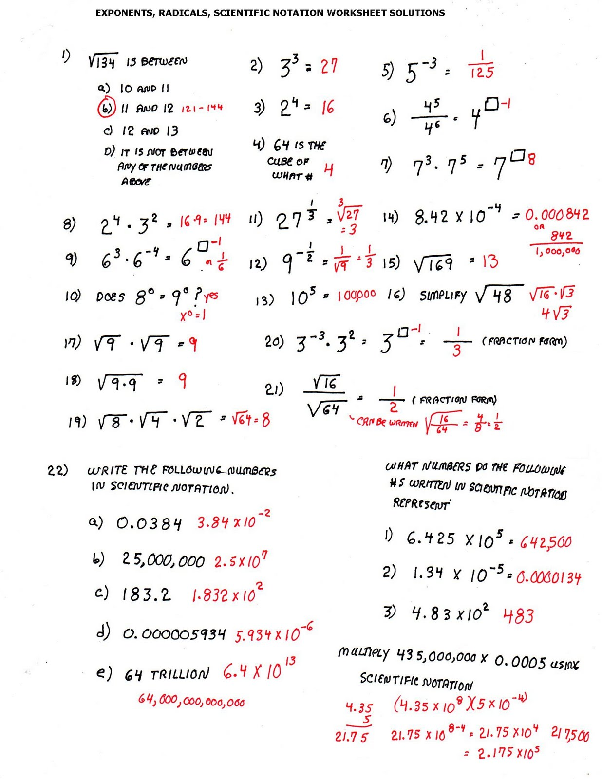 Cobb Adult Ed Math SOLUTIONS TO LAST 3 WORKSHEETS – Properties of Exponents Worksheet Answers