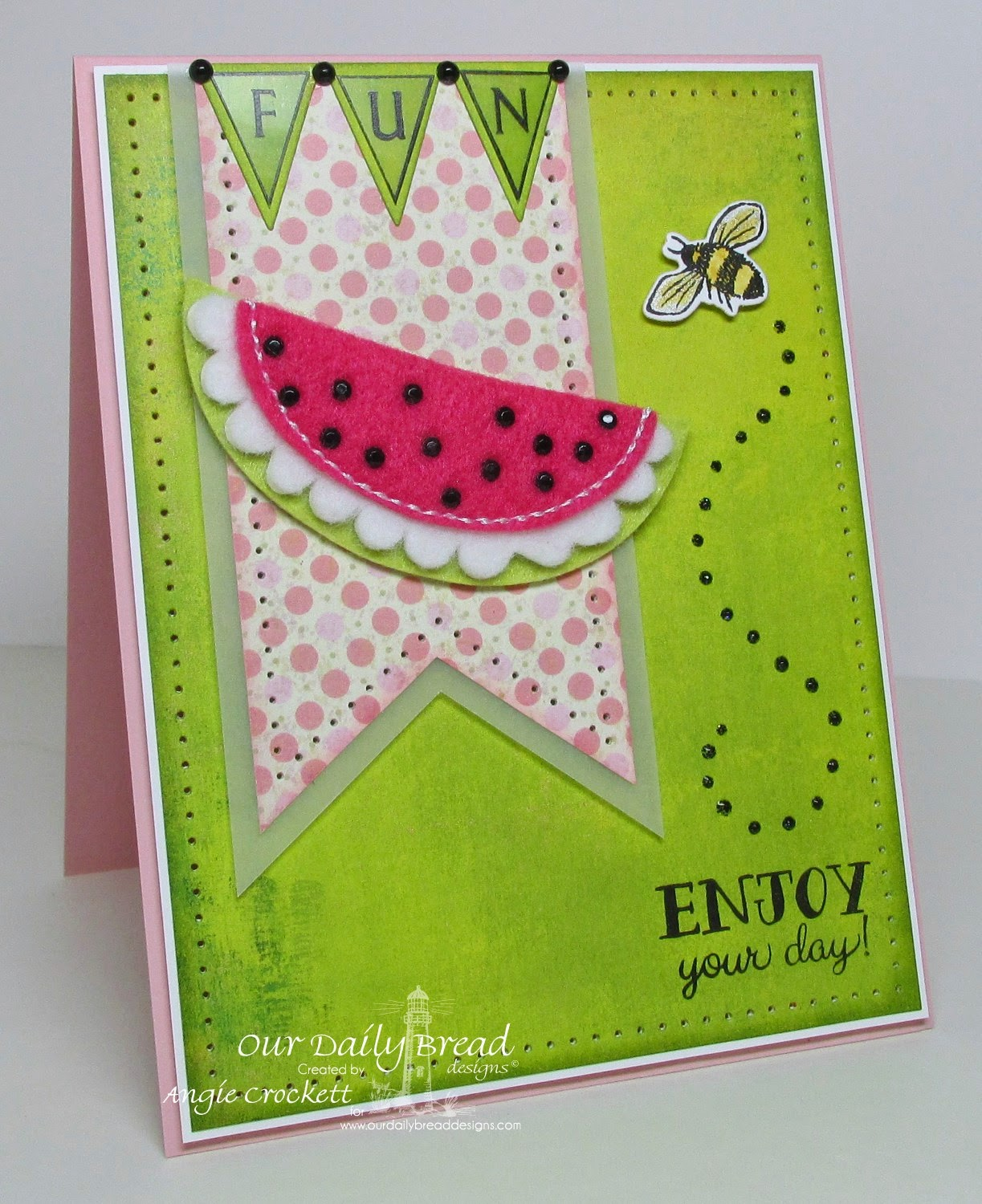ODBD Flip Flop Fun, Pennant Alphabet, Zinnia, ODBD Custom Zinnia and Leaves Dies, ODBD Custom Pennants Dies, Blushing Rose Designer Paper Collection, Card Designer Angie Crockett