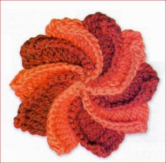 Flor de dos colores tejida al crochet