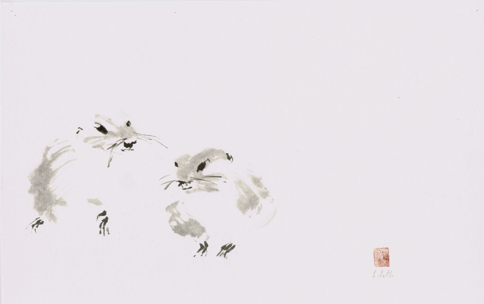 "The Empty Space ""Tao Te Ching"" verse 4 For Artists sumi-e painting of two groundhogs."