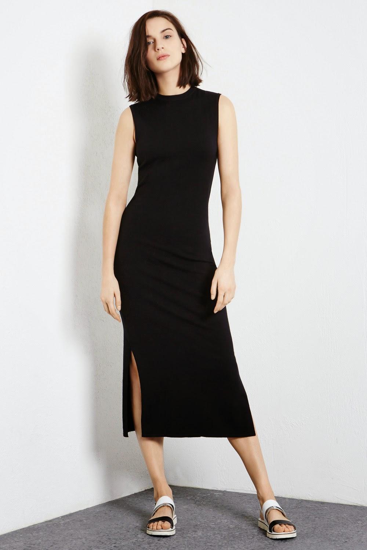 black side split midi dress, warehouse black split dress,