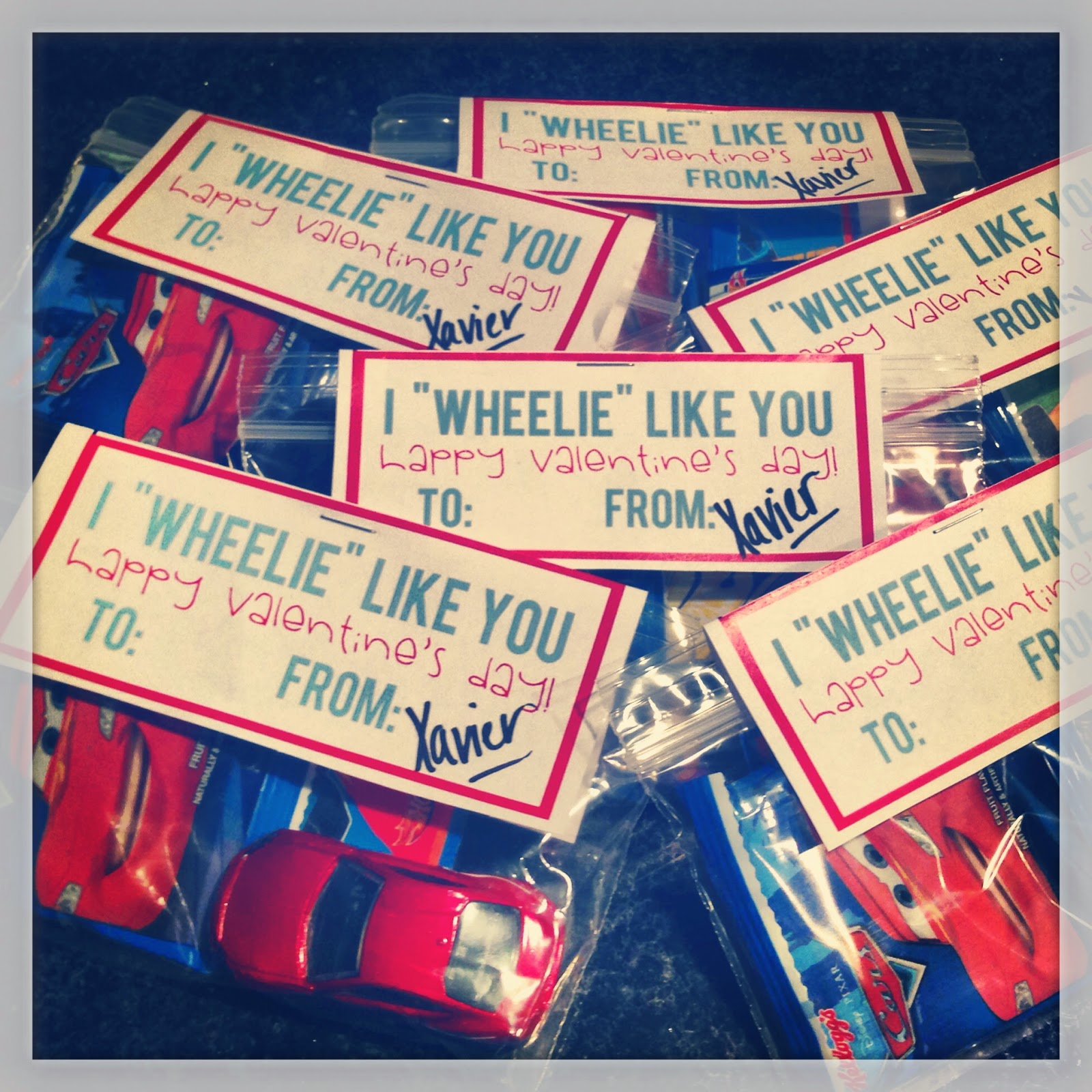 Toddler valentines, preschool, daycare, cars