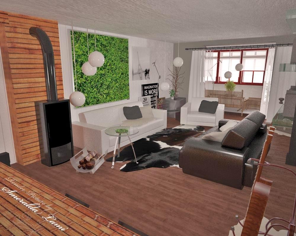 Warm industrial living room - Industrial Living Room Render By Smeralda Lami