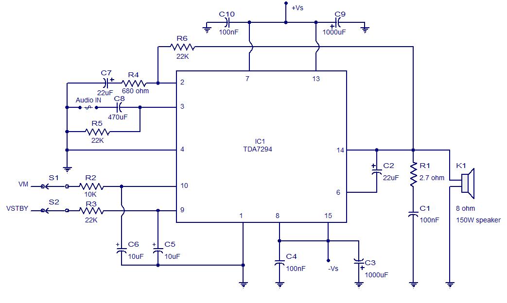 100W Audio Amplifier with TDA7294 |AUDIO AMPLIFIER SCHEMATIC ...