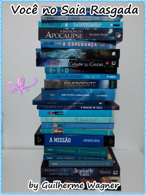 foto enviado pelo seguidor do SR com livros de lombada azul
