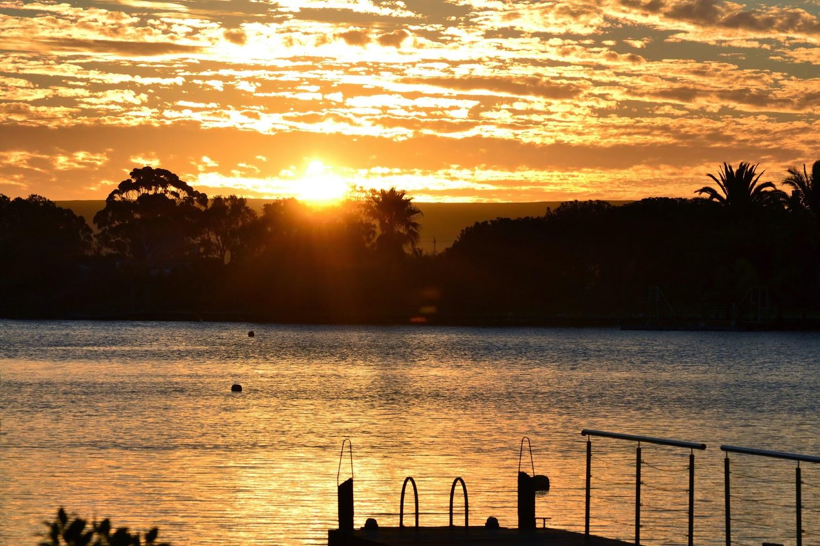 golden sunset over the marina