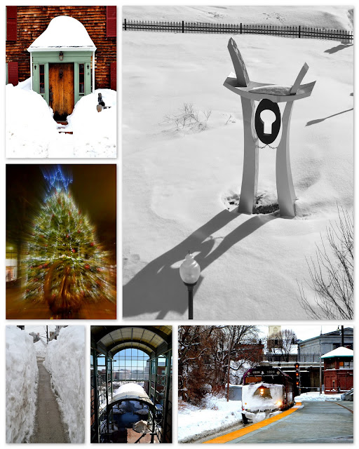 Winter,Scenes, Salem, Lynn, Massachusetts, tree, snow, sculpture, door, christmas, train , station, tunnel