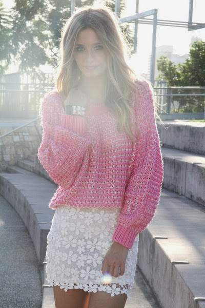 White Floral Skirt With Strawberry Pink Knit