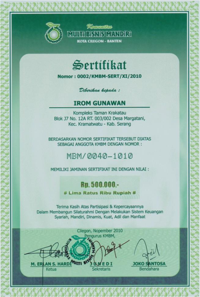 Contoh Sertifikat IT & IP