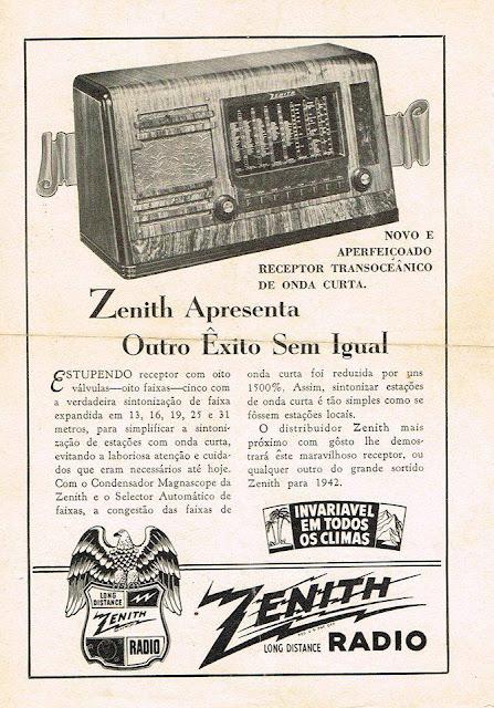 Rádio Zenith, Ondas Curtas. Propaganda de 1942.