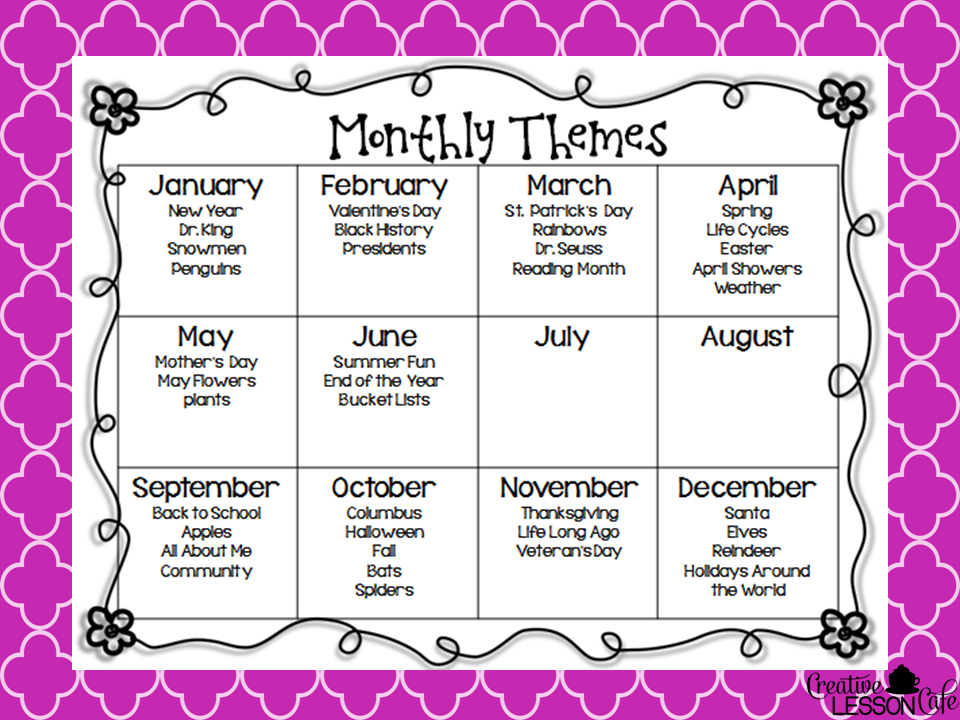 Calendar Monthly Themes : Creative lesson cafe binder covers and classroom