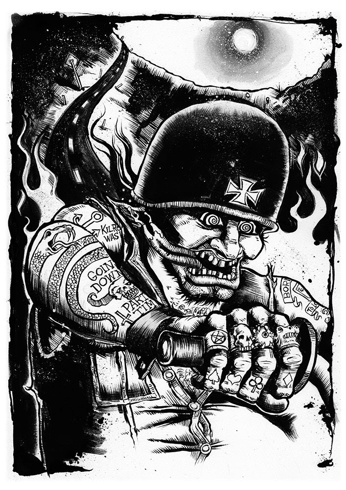 """Paid My Dues"" ink illustration by Mike Foxall - www.xraystudios.com"