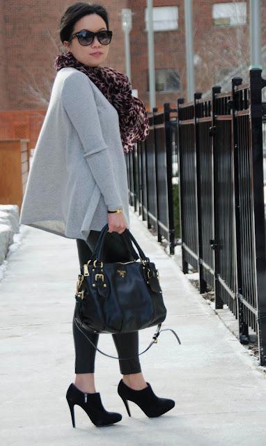 Demy Lee, Gap, Aritzia, Prada, leather pants, oversized sweater, cashmere sweater, leopard print scarf, suede booties