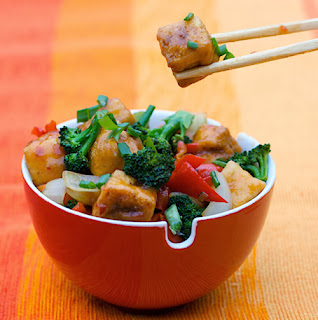 Spoon With Me's Sweet Chile-Pineapple Glazed Tofu with Mixed Veggie Stir Fry
