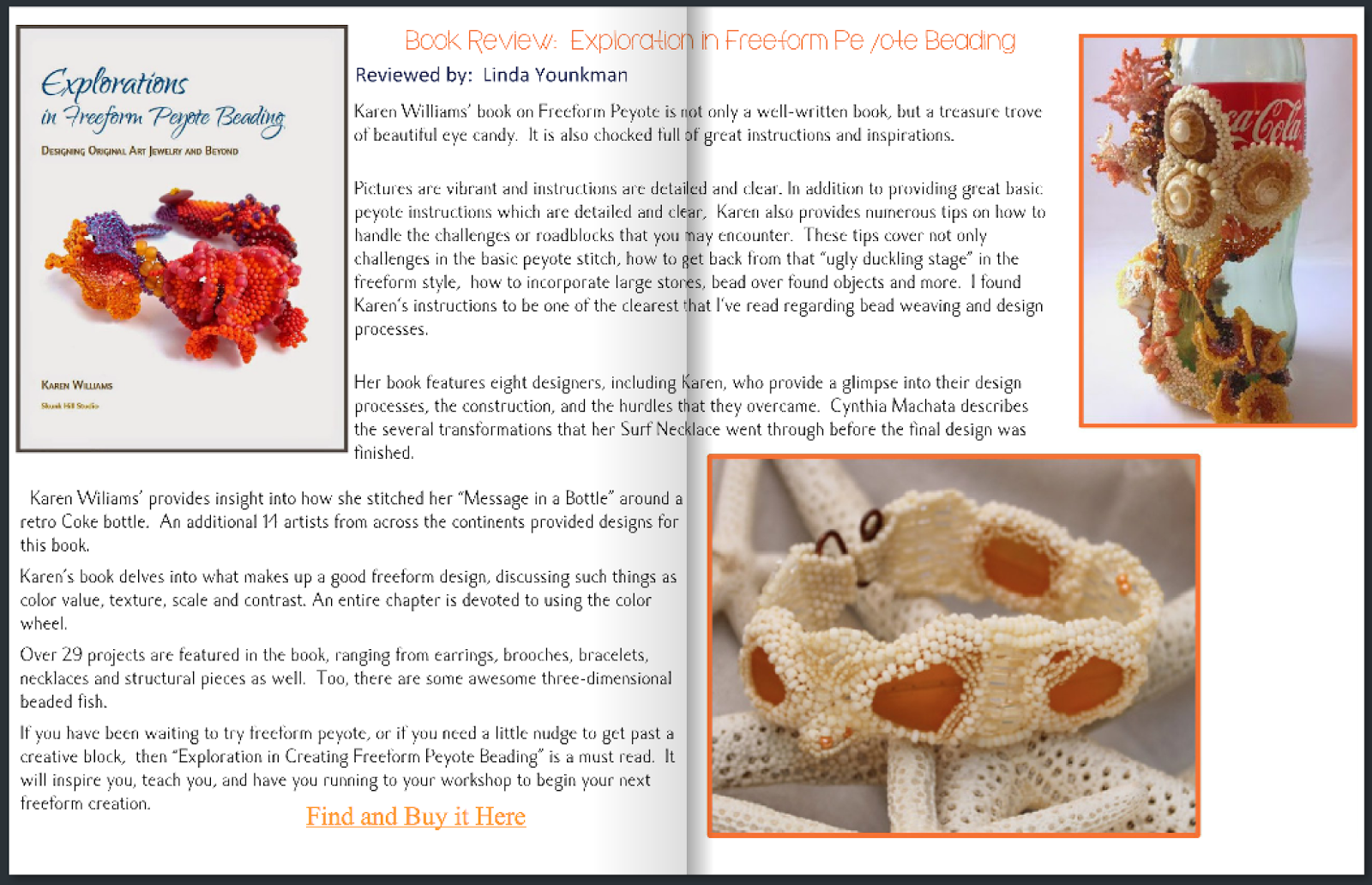Bead Chat book review:  Explorations in Freeform Peyote Beading by Karen Williams, review by Linda Younkman