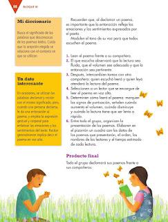 Apoyo Primaria Español 4to Bloque III lección 8 Leer poemas en voz alta