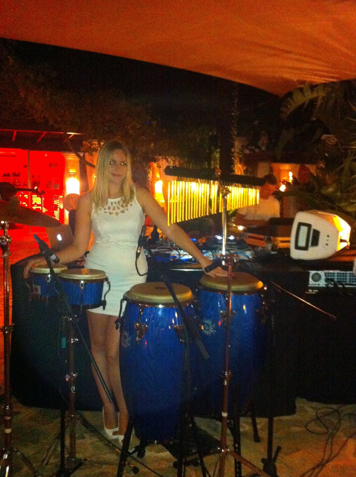 Dj percussionist she plays drums for Ibiza house orchestra