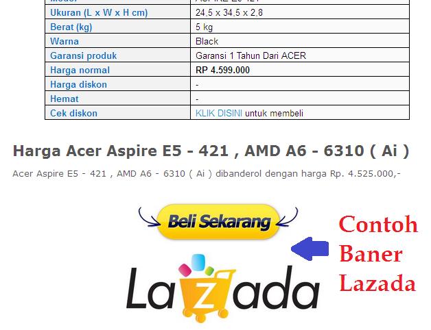 Contoh Banner Lazada di Website