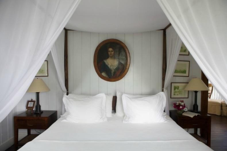 British Colonial bedroom, coastal, white